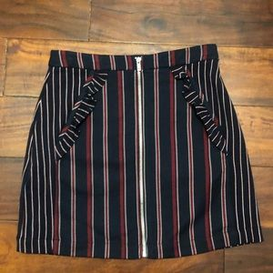 BCBG Generation Zipper Striped Mini Skirt Pockets